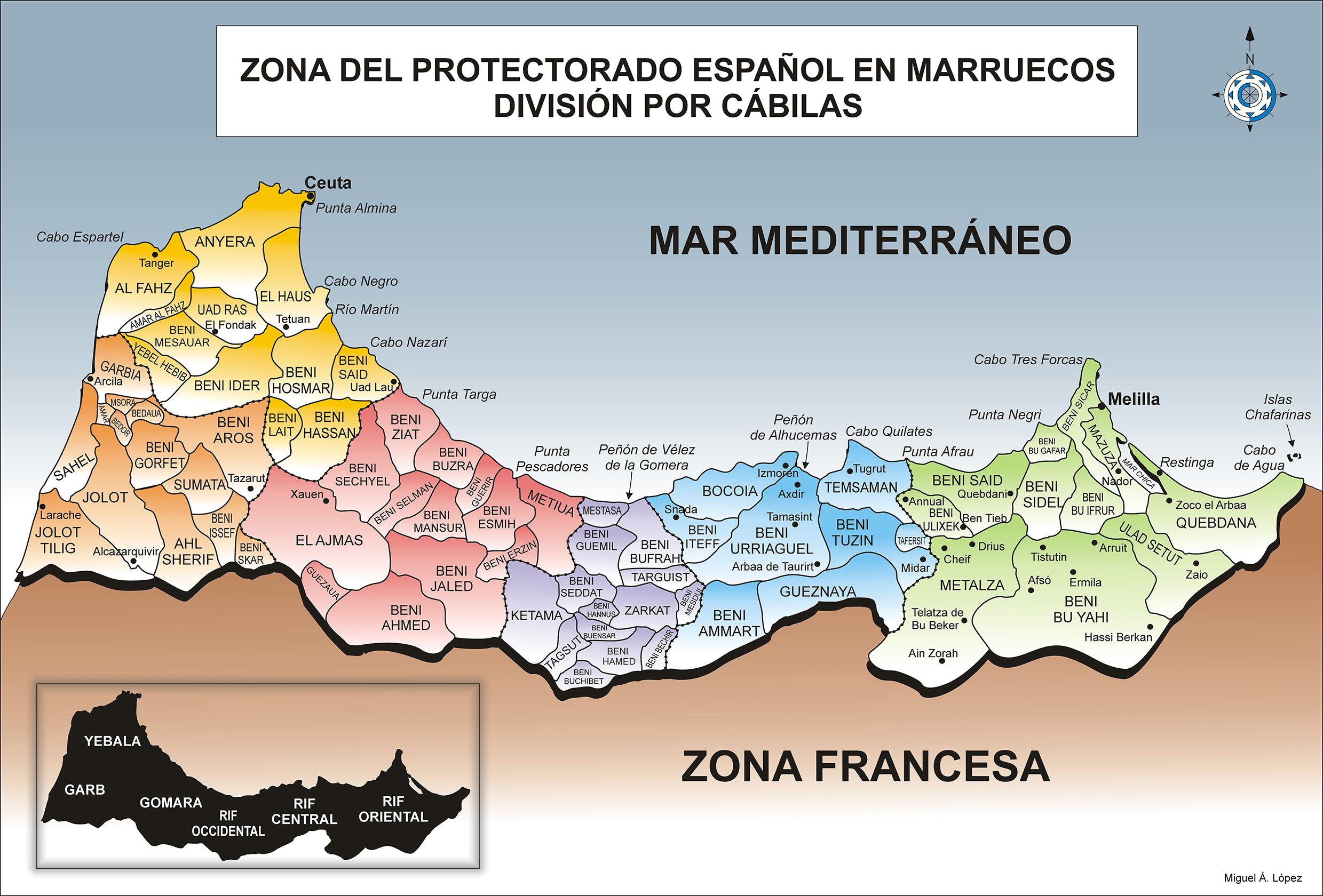 Mapa que muestra las cábilas del protectorado español en Marruecos