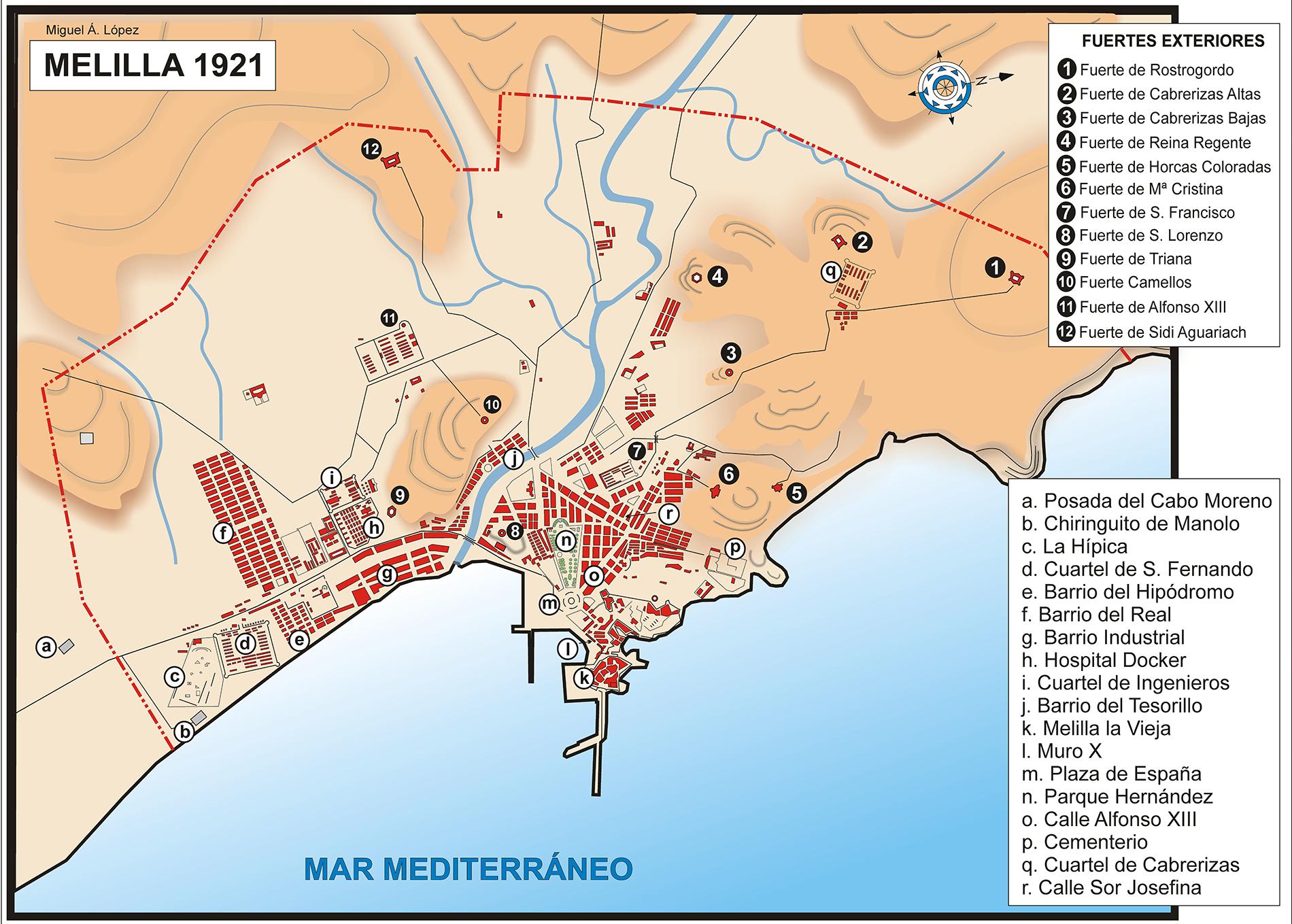 Mapa de Melilla en 1921