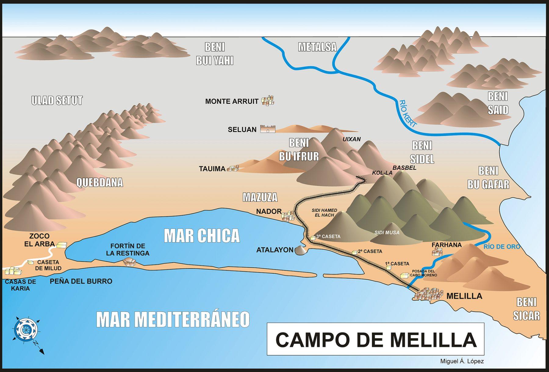 Mapa que muestra el campo de Melilla. Zona marroquí cercana a la ciudad de 1920