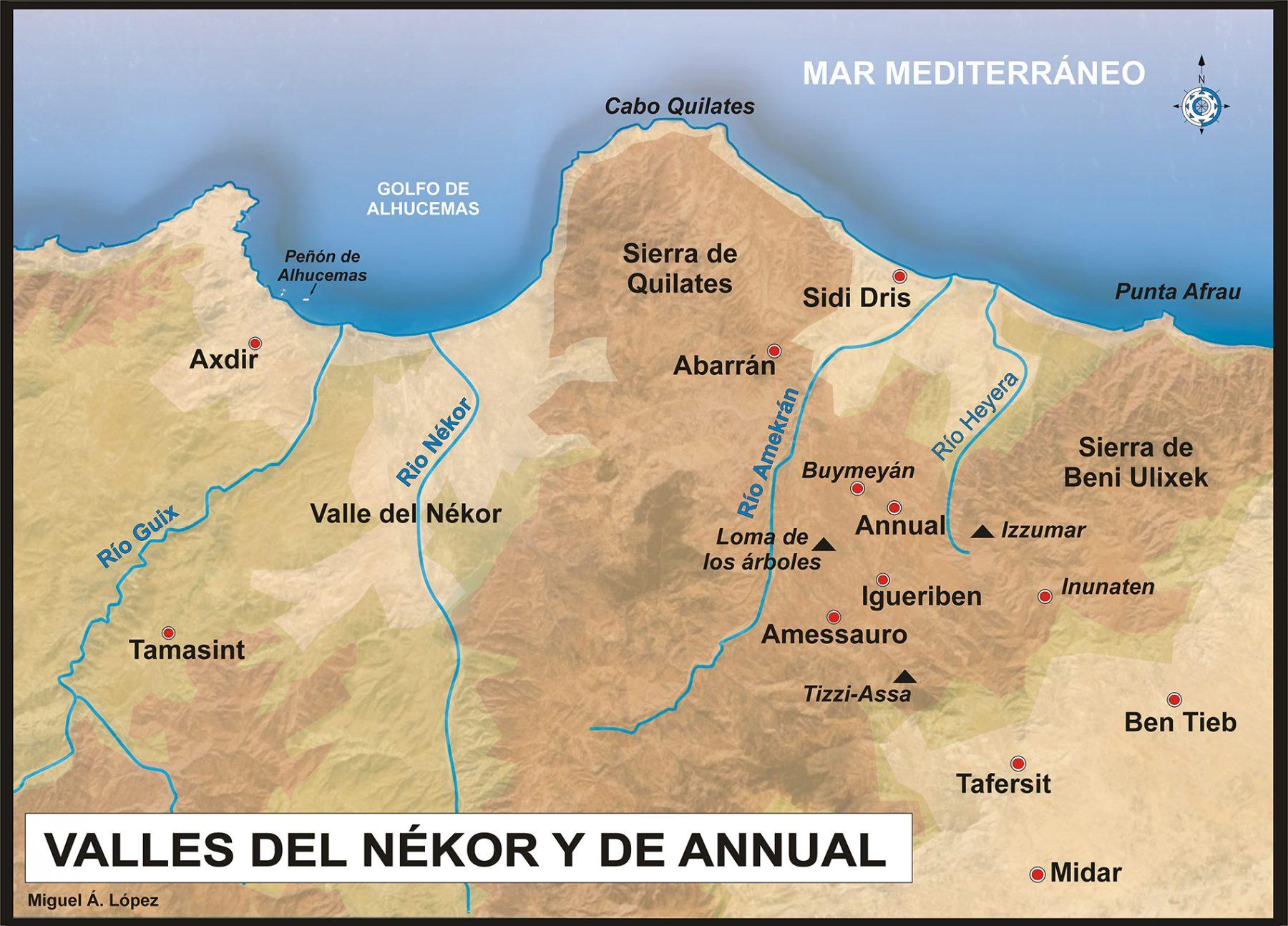 Mapa que muestra los Valles del Nékor y de Annual