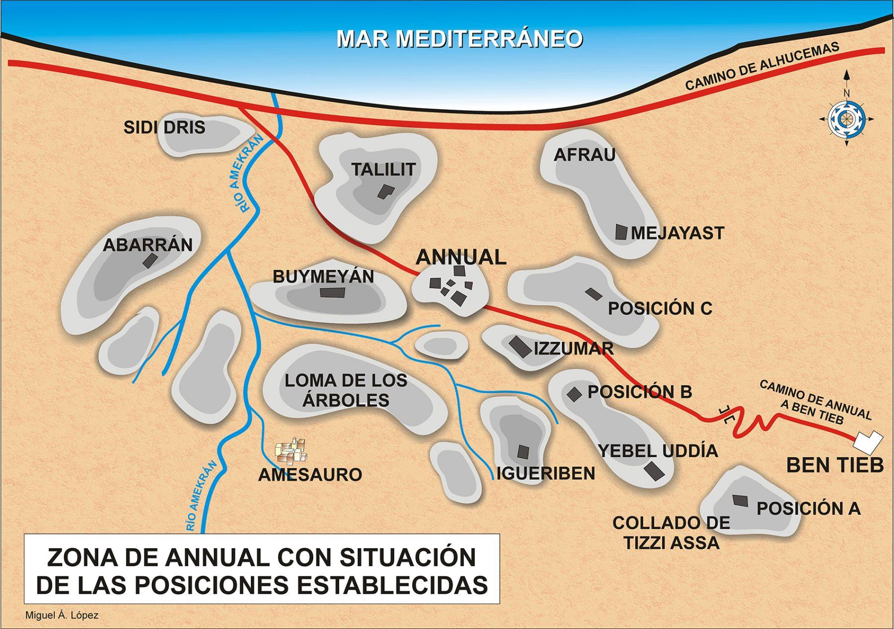 Mapa que muestra la zona de Annual y posiciones cercanas