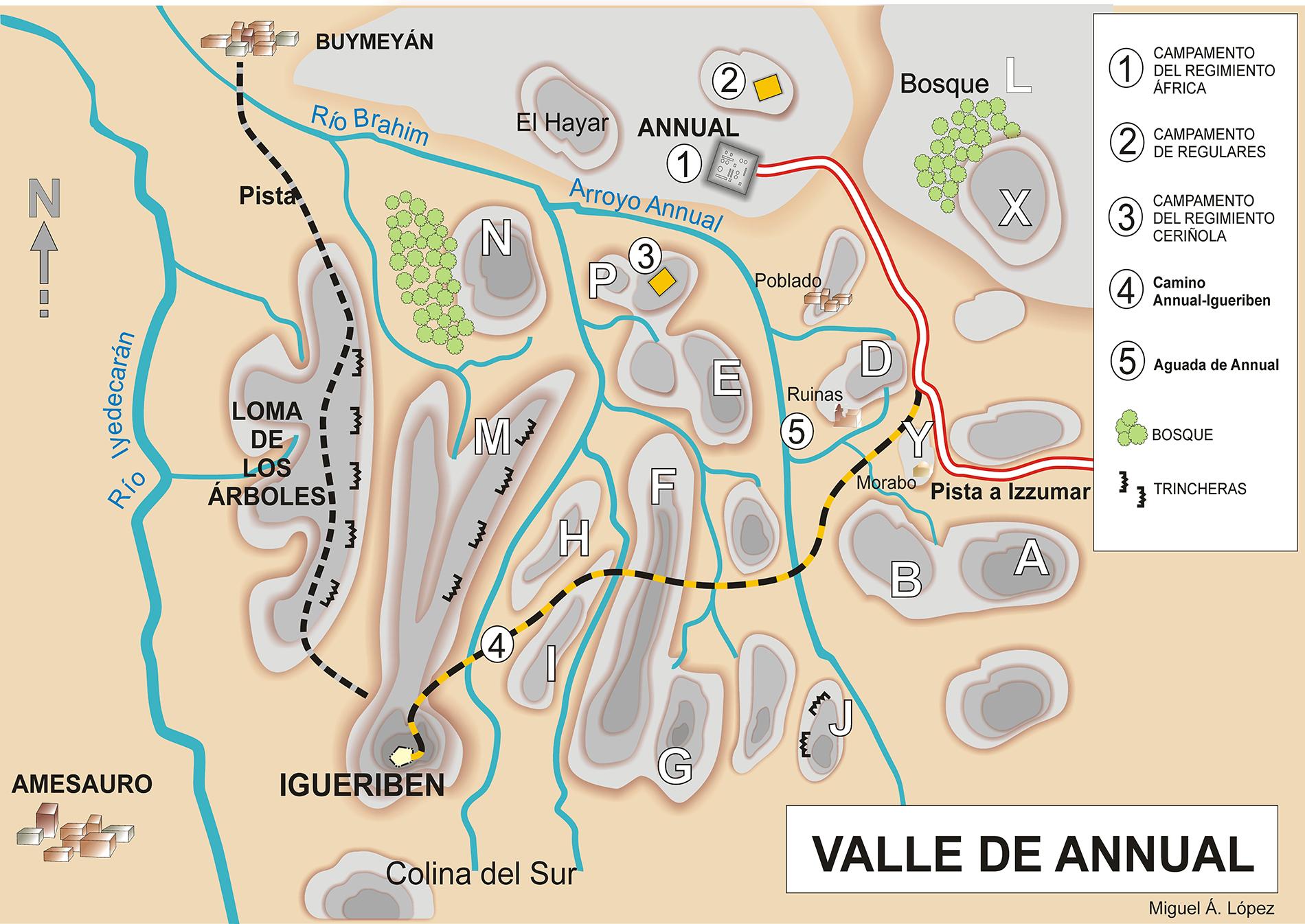 Mapa que muestra el valle de Annual