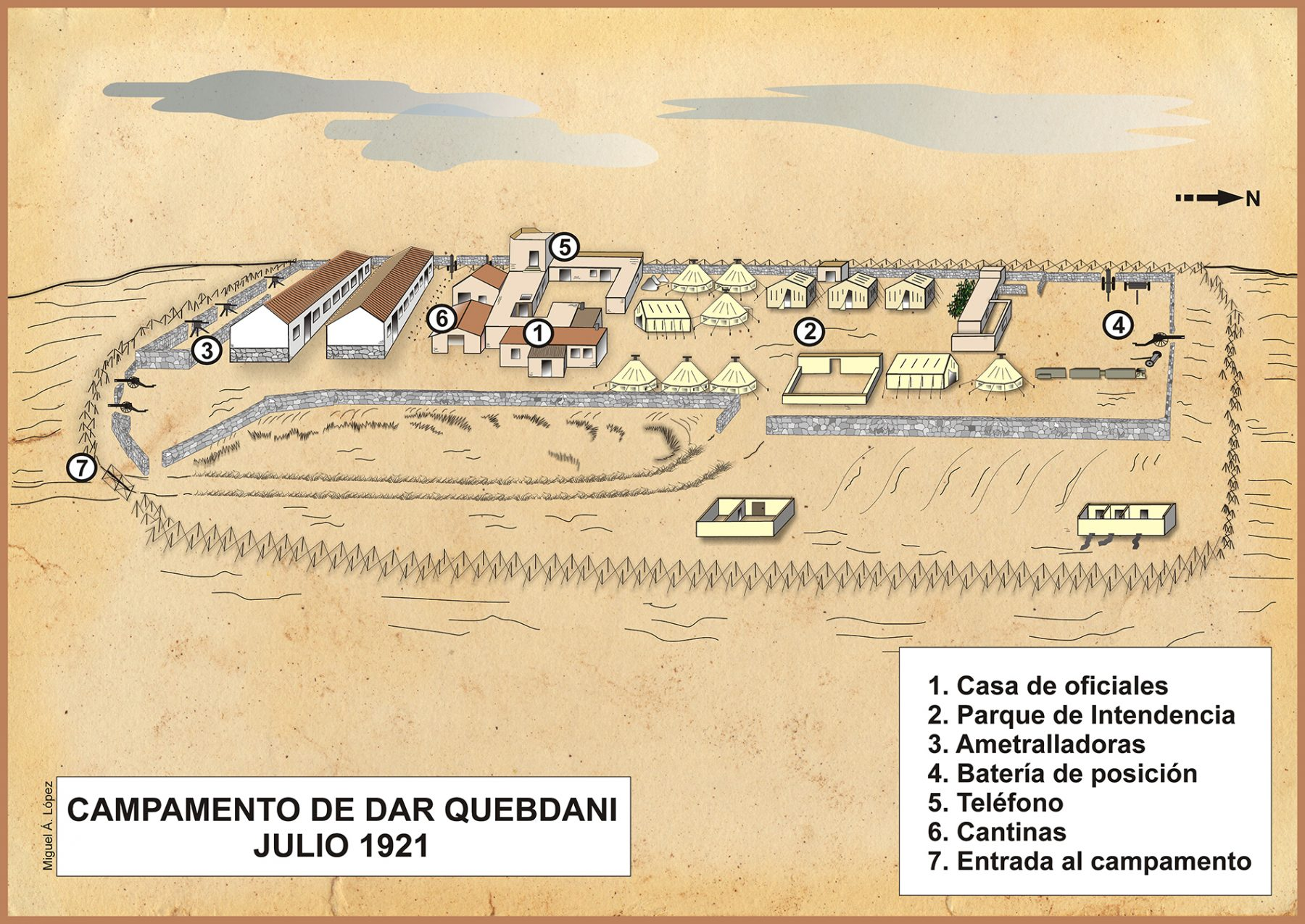Mapa que muestra el campamento de Dar Quebdani