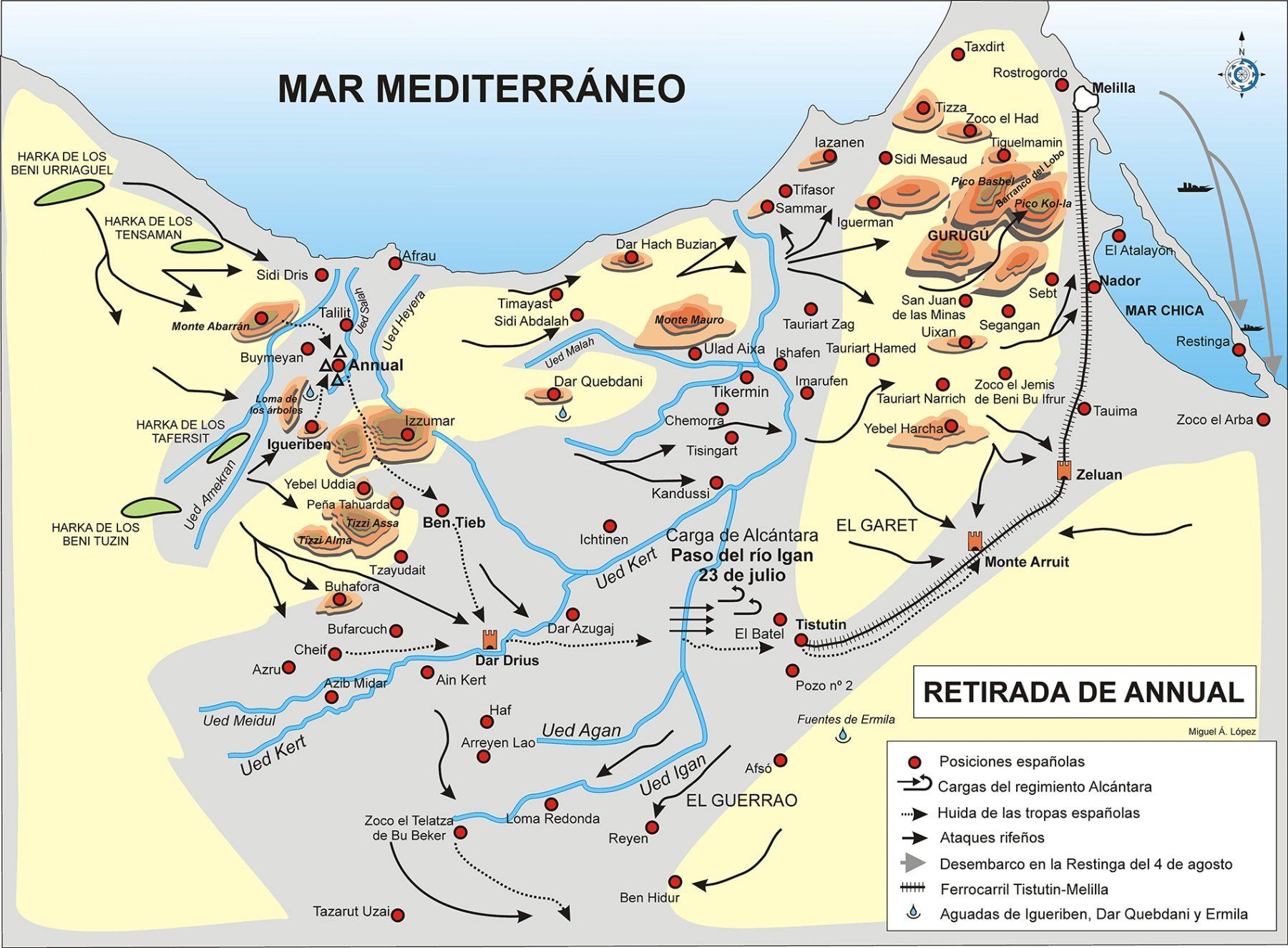 Mapa que muestra la retirada de Annual