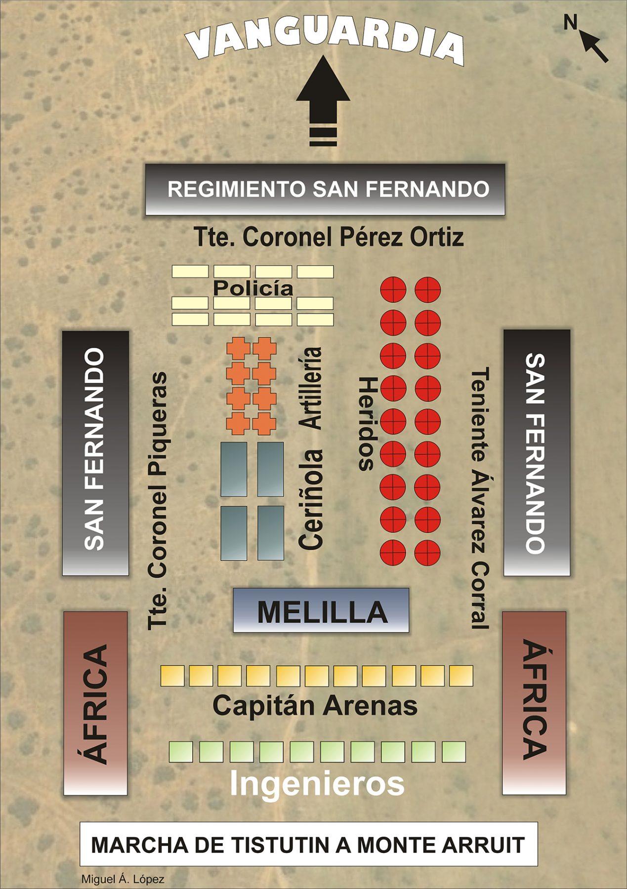 Mapa que muestra la marcha de Tistutin a Monte Arruit