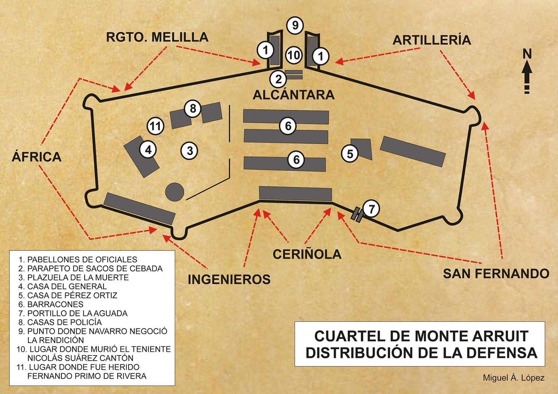 Mapa que muestra la distribución de la defensa en el cuartel de Monte Arruit